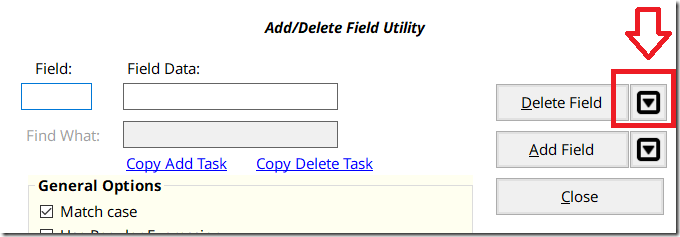Add/Delete Field Option -- showing the Preview Button -- a button with a black down arrow